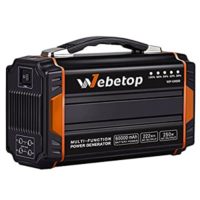 Webetop 250W Portable Generators Power Inverter Battery 60000mAh 222Wh Camping Emergency Home Power Source Charged Solar Panel/Wall Outlet/car 2 110V AC Outlet, 4 DC 12V, 2 USB Port