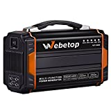 Webetop 250W Portable Generators Power Inverter Battery 60000mAh 222Wh Camping Emergency Home Power Source Charged by Solar Panel/Wall Outlet/car 2 110V AC Outlet, 4 DC 12V, 2 USB Port