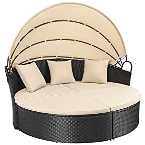 picture of Homall Outdoor Patio Round Daybed with Retractable Canopy Wicker Furniture Sectional Seating with Washable Cushions for Patio Backyard Porch Pool Daybed Separated Seating (Beige)