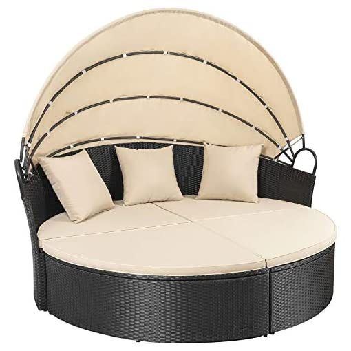 Homall Outdoor Patio Round Daybed With Retractable Canopy Wicker Furniture Sectional Seating With Washable Cushions For Patio Backyard Porch Pool Daybed Separated Seating Beige Beachfront Decor