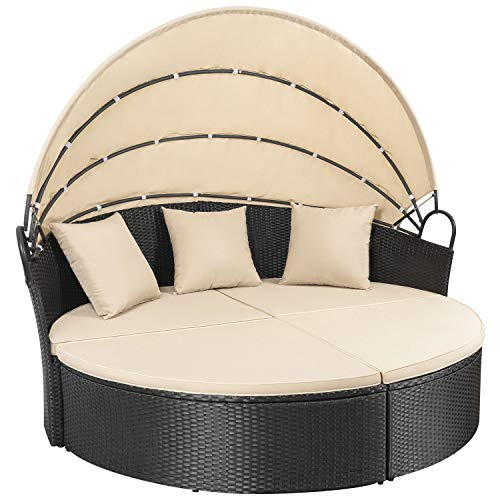 Homall Outdoor Patio Round Daybed with Retractable Canopy Wicker Furniture Sectional Seating with Washable Cushions for Patio Backyard Porch Pool Daybed Separated Seating (Beige) (Curved Patio Seating)