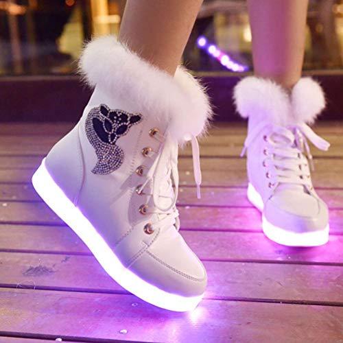 Usb De Botas Mujer tamaño Terciopelo Carga Piel Colores Conejo Zapatos Bestoyard Cálidas Blanco Más Nieve Para Invierno 36 Radiantes Por 1gP5xqw