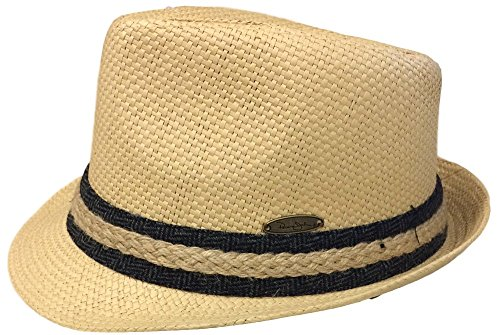 Panama Jack Men's Matte Toyo Fedora (Medium, Braid - Toyo Wide Hat Braid