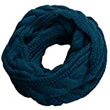 NEOSAN Womens Thick Ribbed Knit Winter Infinity Circle Loop Scarf Twist Teal