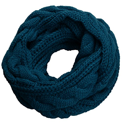 NEOSAN Womens Thick Ribbed Knit Winter Infinity Circle Loop Scarf Twist Teal ()