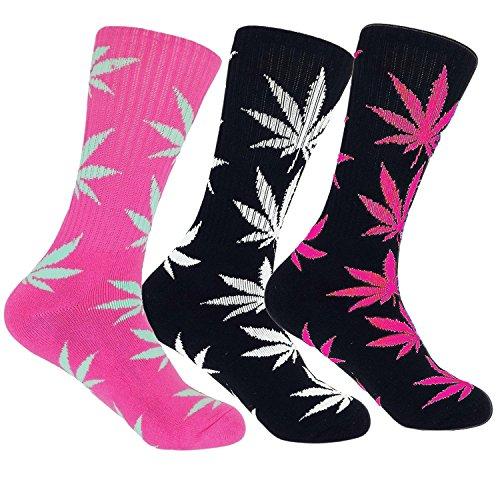 3 Pairs Marijuana Leaf Cannabis Dress Socks Weed Design Crew High 10-13