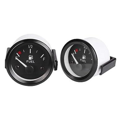 Qiilu 2 52mm Universal Car SUV Fuel Level Gauge Meter with LED Digital Fuel Sensor E-1//2-F Pointer 12V