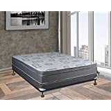 Spring Solution Fully Assembled Long Lasting Foam Encased 10 Inch Eurotop Orthopedic Back Support Mattress, With 4Box Spring, Full XL