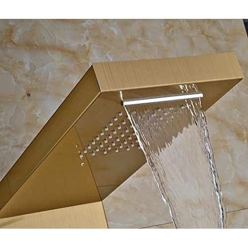 Senlesen Gold Polish Rainfall Shower Panel 2 parts Massage Jets System Faucet with Hand Brass Tub Spout Shower Column best