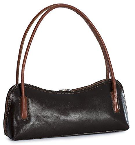 Coffee Small Genuine Italian LIATALIA Clutch ARYA Evening Bag Shoulder Tan Leather Trim Satchel fvtqUtx