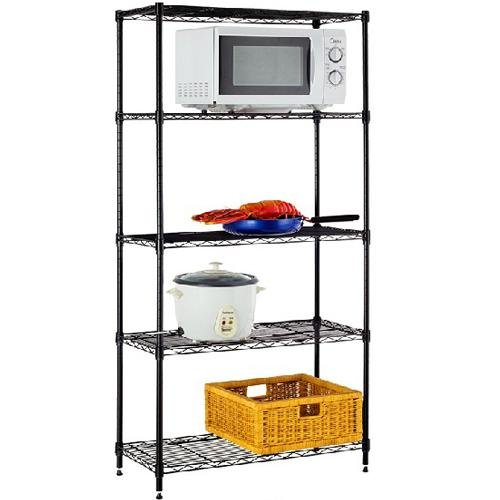 Amazon.com: 5 Shelf Home Style Black Steel Wire Shelving 36 By 14 By  72 Inch Storage Rack 5: Kitchen U0026 Dining