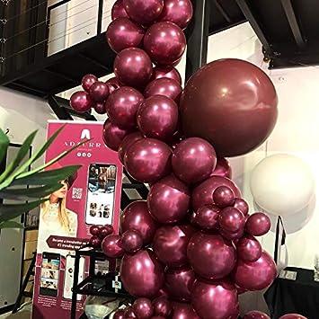 Amazon.com: Juego de guirnaldas de globos de látex rojo vino ...