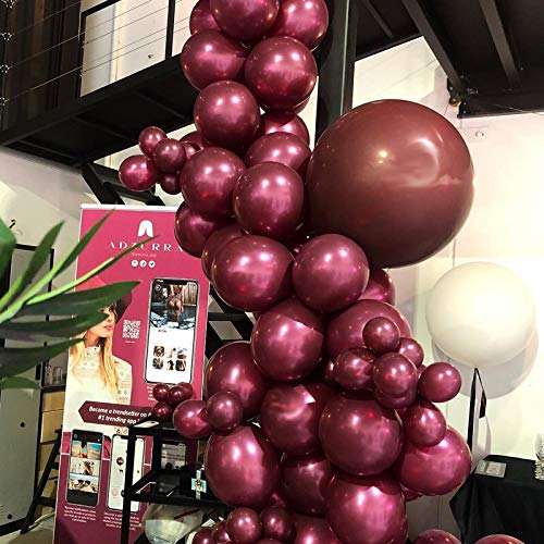 Captank Burgundy Balloons Garland Kit 105 Wine Latex Peal Balloons Arch kit:16ft Balloon Strip Tape 100 Balloon Dot Glue for Adult Birthdays Weddings Receptions Bridal Showers Party Decoration