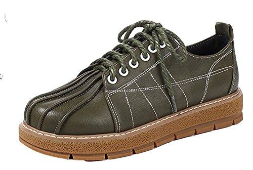 Aisun Womens Vintage Comfort Ronde Neus Platform Veter Flats Oxfords Schoenen Army Green