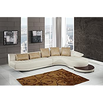 Global Furniture UFM208 - SECTIONAL Blanche Sectional Milky/Ivory  sc 1 st  Amazon.com : ivory leather sectional - Sectionals, Sofas & Couches