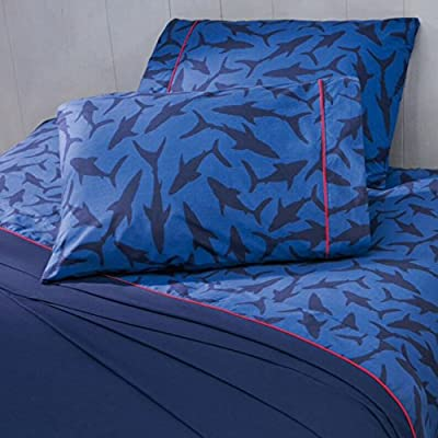 Best Seller Pacific Team Shark Boys Flat Sheet,fitted Sheet And Pillowcases 3 Pcs Twin Size