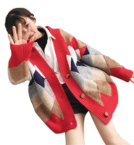 JIANGWEI ニット カーディガン セーター コート  長袖  スプライス色  ゆったり 早春 チェック柄 ストーリー きれいめ おしゃれ 人気