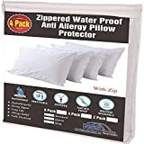 4 Pack Allergy Control Waterproof Pillow Protectors Standard 20x26 Inches Life Time Replacement Smooth Zipper Premium Encasement Covers Quiet Cases Set White 100% Liquid Guard