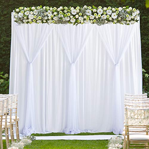 White Tulle Backdrop Curtains Photo Backdrop for Weddings Birthday Parties Baby Shower Photography Drape Backdrop Stage Curtain 10 ft X 7 ft (Wedding Backdrop Drapes)