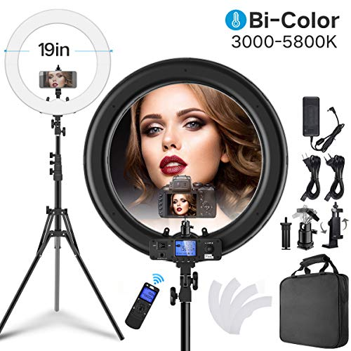 Pixel Ring Light kit - 19 inch 55W 5500K Dimmable Bi-Color LED Ring Light with Stand, Carrying Bag for Camera, Smartphone, YouTube, Self-Portrait Shooting, Makeup, Photography, Live Streaming