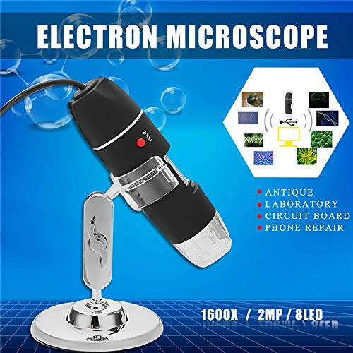 TOYECOTA - 1600x 8LED Zoom USB Digital Microscope Electronic Lens Light Biology Biological Magnifier Endoscope Camera Video Stand Handheld