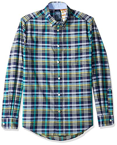 Tommy Hilfiger Men's Adaptive Magnetic Button Shirt Regular Fit, Peacoat, Medium (Adaptive Dress)