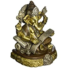 CraftVatika Rare Lord Ganesh Ganesha Shubh Labh Beautiful Brass Statues Hindu Good Luck God - Sculpture
