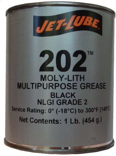 Jet-Lube 202 MOLY-LITH Multi-Purpose Grease with MoS2, 1 lbs Can, Black by Jet-Lube