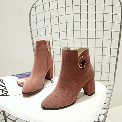 Boots Boots And Korean Pointed Pink Autumn Martin Winter Female Matte Shoes Heeled Thick With Leather Size KPHY High qxw01I