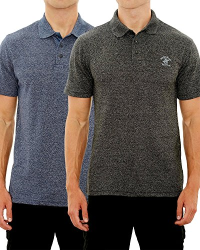lub Men's Pique Polo with Horse Logo (2 Pack), Navy/Black Marled, Large' (Club Pique Polo Shirt)