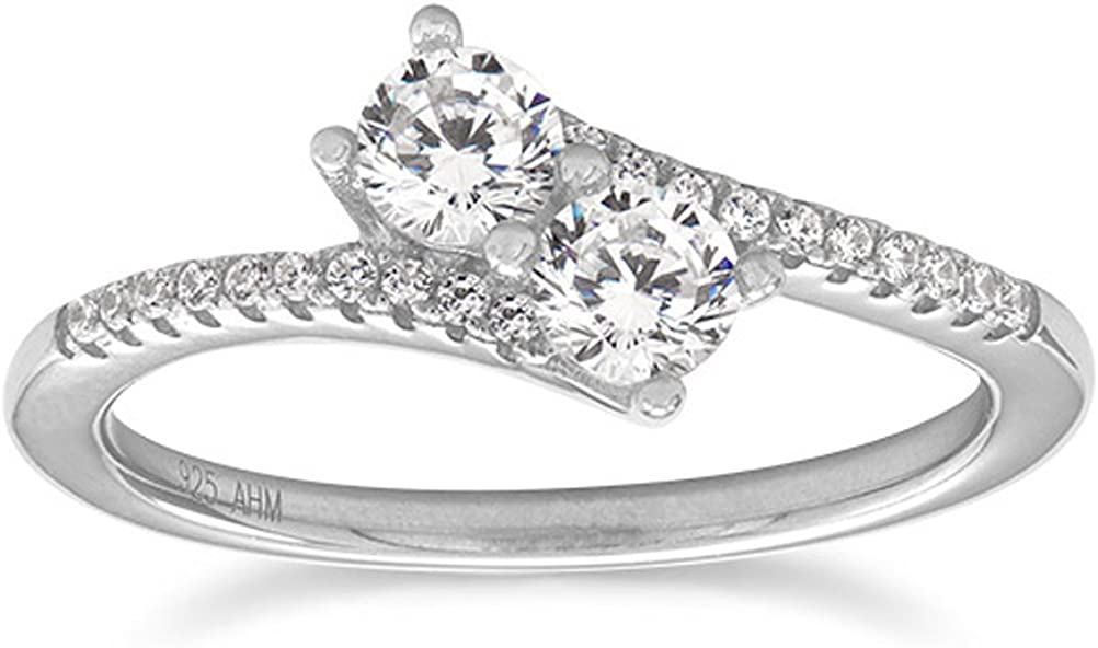 Overlap Two Stone Cubic Zirconia Ring Rhodium on Sterling Silver and Side Stones