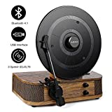 vintage turntable needle - Vintage Turntable - Vinyl Record Player, ABOX Bluetooth Turntable with Dual Built-in Stereo Speakers System, Bluetooth 4.1, 3 Speed Turntable, LP, USB/MP3, Vertical Turntable, Natural Wood, Great Gift
