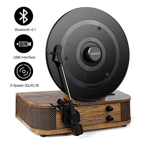 (Vintage Turntable - Vinyl Record Player, ABOX Bluetooth Turntable with Dual Built-in Stereo Speakers System, Bluetooth 4.1, 3 Speed Turntable, LP, USB/MP3, Vertical Turntable, Natural Wood, Great Gift)