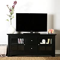 Walker Edison 53 Wood TV Stand Console with Storage Drawers, Black