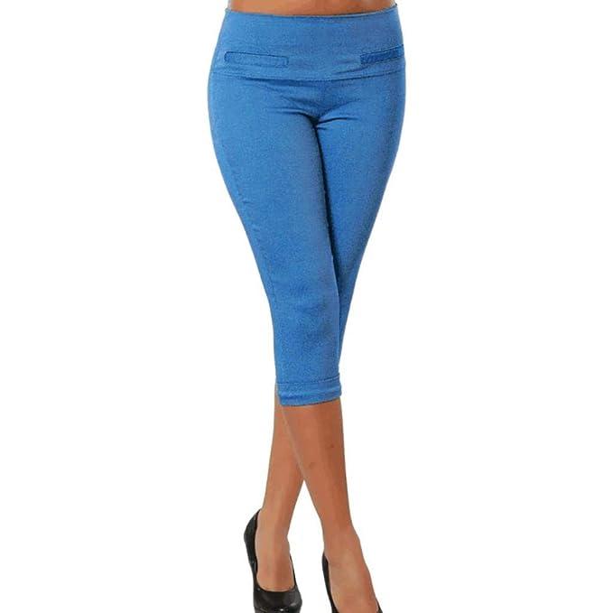5b1c02cf413560 ASHOP Dreiviertel Hose Damen High Waist Reine Farbe Luftige Enge Sommerhose  Stretch Stoffhose (Blau,