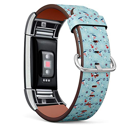 (Compatible with Fitbit Charge 2 - Leather Watch Wrist Band Strap Bracelet with Stainless Steel Clasp and Adapters (Sailboat Anchor Steering))