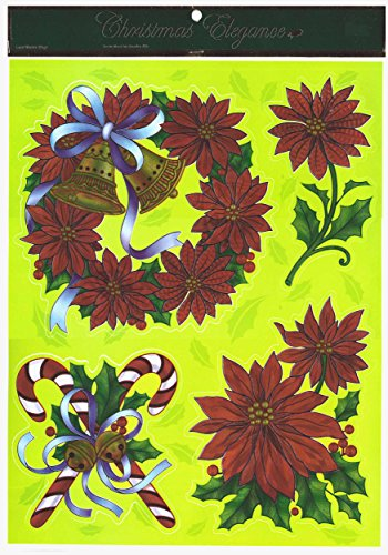 Christmas Wreath Poinsettia Window Cl;ings