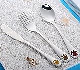 XIDUOBAO 3 PCS Flatware Set Stainless Steel Spoons for Kids, Mirror Polished, Silverware Children Knife/Fork/Spoon