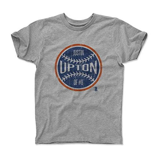 500 LEVEL's Justin Upton Ball B Detroit Baseball Kids T-Shirt 6-7Y Heather Gray Officially Licensed by the Major League Baseball Players Association (MLBPA)