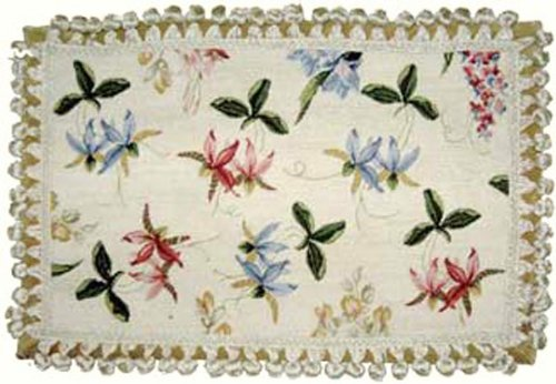 Deluxe Pillows Crisp Orchids on White - 12 x 22 in. needlepoint - Pillow Orchid Needlepoint