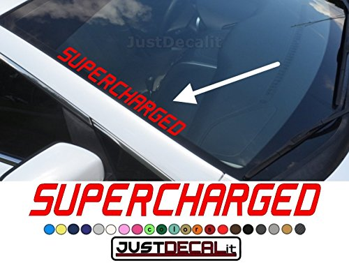 Side Windshield SuperCharged Decal Fits Chevy Gmc Dodge Ford Honda Nissan