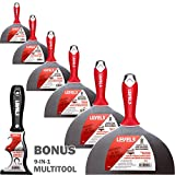 Pro Grade Drywall 8-inch Broad Knife with Stainless Steel Blade - 6 Pack with Bonus Multitool | Comfort Grip Handle | Finishing Knives Scraper Spreader | Level 5 Tools