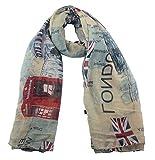 Lenikis England Flag London Soft Light Weight Scarves 4725C2 Khaki