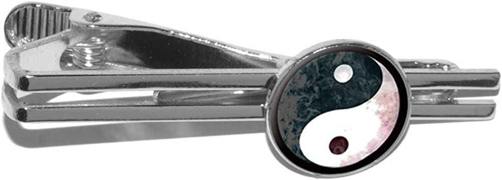 Graphics and More Yin Yang Cloud Texture Round Tie Bar Clip Clasp Tack Silver