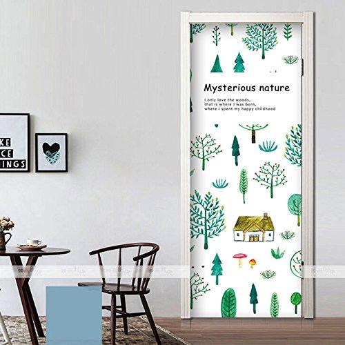 - Axb-dmg Forest Series Small Fresh Self-Adhesive Waterproof Wood Wooden Door Bedroom Door Stickers Wall Sticker, 60X135Cm