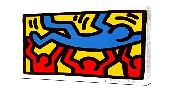 Monkey Puzzle PopArt Canvas Wall Art Framed Print Various Sizes Keith Haring