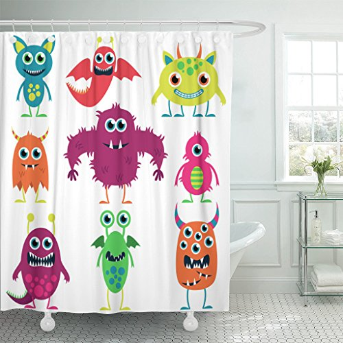 Breezat Shower Curtain Alien Collection of Cute Monsters Dinosaur Waterproof Polyester Fabric 60 x 72 Inches Set with (Real Yeti Costume)