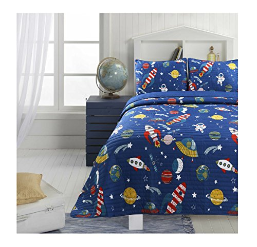 Adrien Boys Bedding Reversible Quilt and Pillow Sham Set, Microfiber, Choice of TWIN or FULL, Multiple Designs (Space, FULL) ()