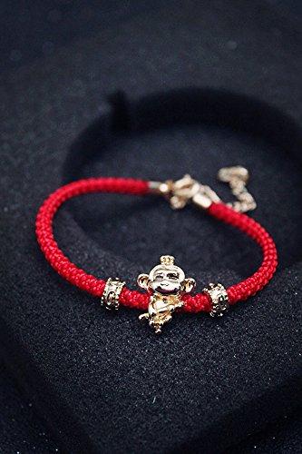 Generic Cute animal year lucky monkey lucky monkey bracelet red bracelet variety of hand-woven red string bracelet by Generic