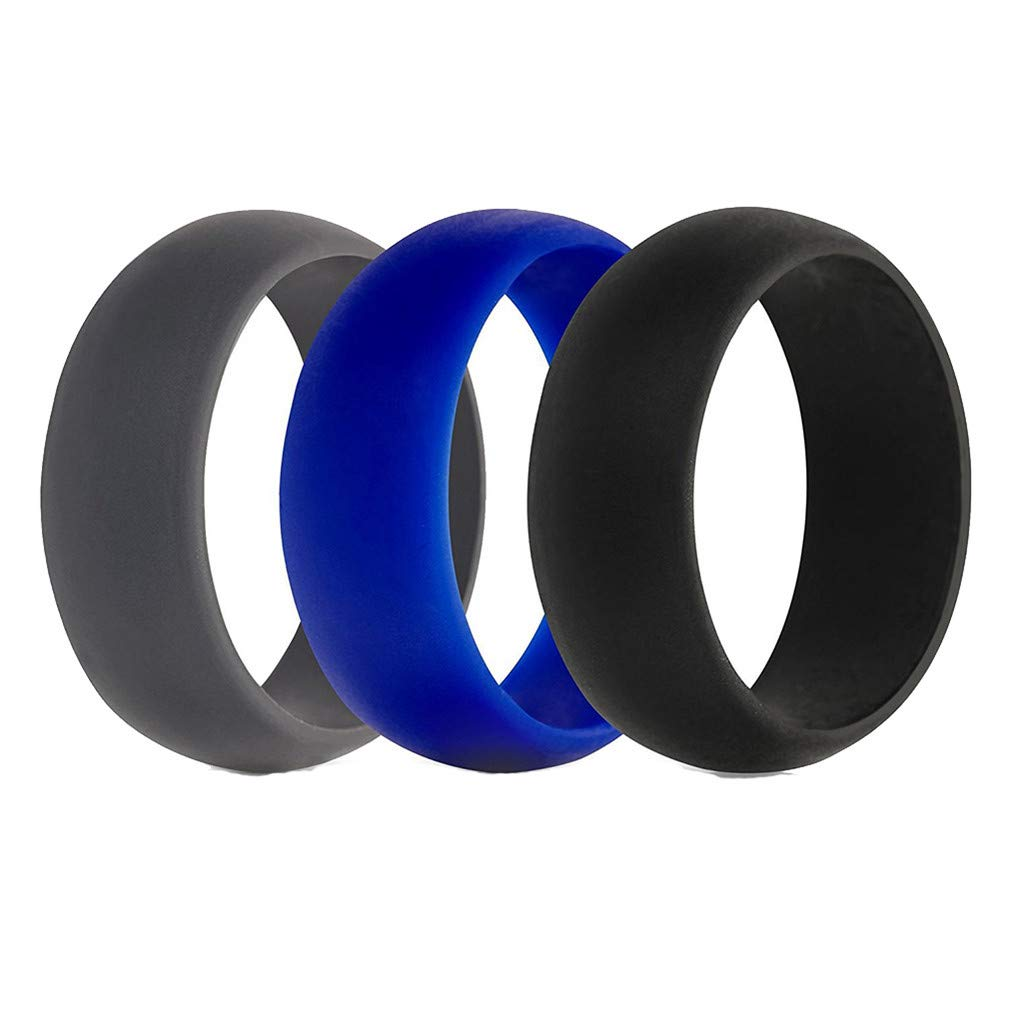 SONGLIN 3 Pcs/Set Unisex Silicone Couple Wedding Ring,Black+Gray+Blue Size 12 by SONGLIN (Image #1)